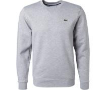 Herren Sweatshirt, Baumwolle, hellgrau meliert blau