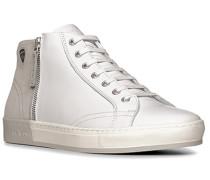 Herren Schuhe Sneaker, Kalb-Veloursleder, weiß-grau
