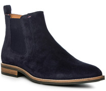 Herren Schuhe Chelsea Boots, Veloursleder, dunkelblau
