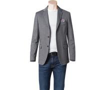 Herren Jersey-Sakko Modern Fit Baumwoll-Mix halbgefüttert schwarz-grau meliert
