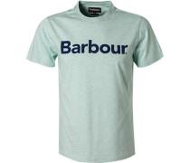 T-Shirt Tailored Fit Baumwolle mint meliert