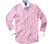 Herren Hemd Smart Cut Baumwolle pink-weiß