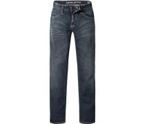 Herren Jeans Straight Fit Baumwoll-Stretch jeansblau