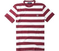 Herren T-Shirt Baumwolle ecru- chianti gestreift rot,weiß