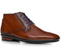 Herren Schuhe Schnürstiefelette, Glattleder, cognac braun