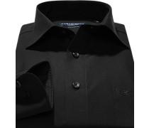 Herren Hemd, Comfort Fit, Popeline, Extra langer Arm, schwarz