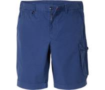 Herren Hose Bermudashorts Slim Fit Baumwolle königsblau