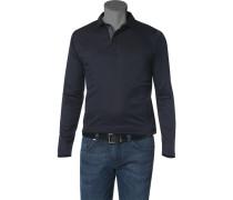 Herren Polo-Shirt Baumwoll-Jersey schwarz-blau gepunktet blau,schwarz