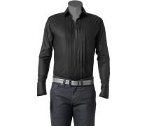 Herren Hemd Stretch-Popeline schwarz