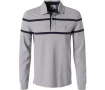 Herren Rugby-Shirt, Baumwolle, grau-navy gestreift