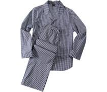 Herren Schlafanzug Splendesto Pyjama Baumwolle navy-weiß kariert blau