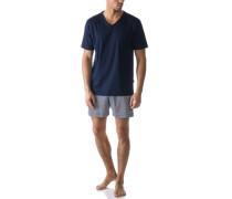 Herren Schlafanzug Pyjama, Baumwolle, nachtblau gemustert