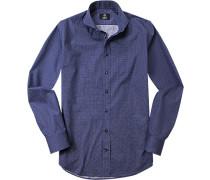 Herren Hemd, Modern Fit, Popeline, navy-weiß gepunktet blau