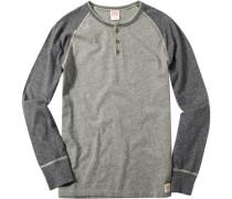 Herren T-Shirt Longsleeve Baumwolle grau-greige meliert