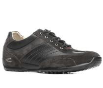Herren Schuhe Sneaker, Glatt-Veloursleder, schwarz-anthrazit