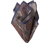 Herren Accessoires Einstecktuch, Seide-Baumwolle, braun gemustert