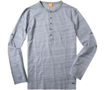 Herren T-Shirt Longsleeve Baumwolle hellblau meliert