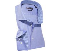 Herren Hemd Fitted Baumwolle blau meliert