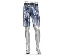 Herren Hose Bermudashorts Master Fancy, Modern Fit, Baumwolle, blau gemustert