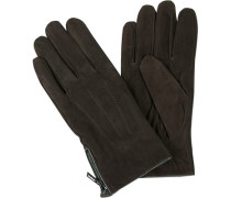 Herren Handschuhe, Ziegen-Veloursleder, dunkelbraun