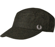 Herren FRED PERRY Cap Woll-Mix oliv meliert