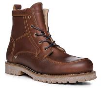 Herren Schuhe Schnürboots, Leder warm gefüttert, kastanienbraun