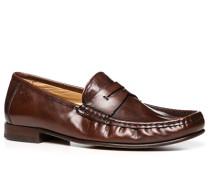 Herren Schuhe Mokassin, Glattleder, braun