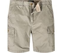 Herren Hose Cargo-Shorts Baumwolle khaki
