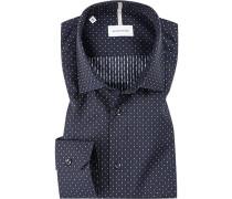Herren Hemd, Shaped Fit, Baumwolle, navy gepunktet blau