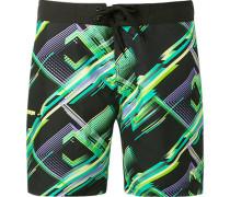 Herren Bademode Board Shorts, Microfaser, schwarz-grün