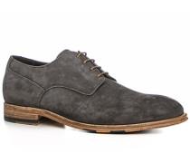 Herren Schuhe Derby Veloursleder carbone grau,beige,rot