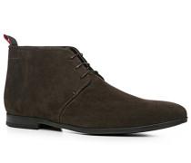 Herren Schuhe Desert-Boots Veloursleder dunkelbraun braun,schwarz