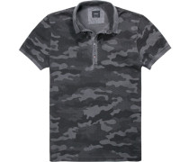 Herren Polo-Shirt Baumwoll-Piqué anthrazit- gemustert