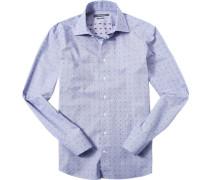Herren Hemd Shaped Fit Popeline Extra langer Arm blau gemustert
