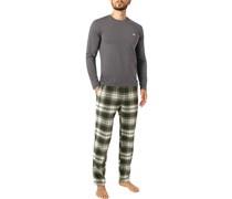 Schlafanzug Pyjama Baumwolle -olivgrün kariert