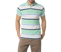 Herren Polo-Shirt Baumwoll-Piqué hellgrün-weiß gestreift