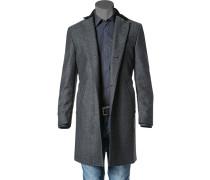 Herren Kurzmantel Woll-Mix schwarz-grau gemustert