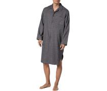 Nachthemd Baumwolle anthrazit gemustert