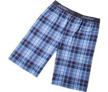 Herren Schlafanzug Pyjamashorts Baumwolle blau kariert