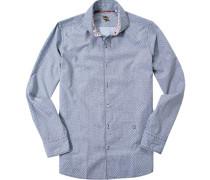 Herren Hemd Slim Fit Popeline navy-weiß gemustert blau