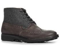 Herren Schuhe Schnürstiefeletten Leder-Filz dunkelbraun