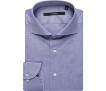 Herren Hemd Shaped Fit Oxford blau meliert