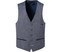 Anzugweste Leinen-Baumwolle blau gemustert