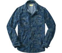 Herren Jeanshemd camouflage blau