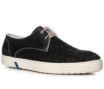 Herren Schuhe Sneaker Verloursleder schwarz schwarz,weiß