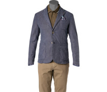 Sakko Baumwolle-Leinen ungefüttert jeans meliert