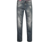 Herren Jeans Slim Fit Baumwoll-Stretch 9 oz grau