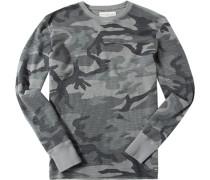 Herren T-Shirt Longsleeve Baumwolle grau gemustert