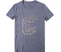 Herren T-Shirt Baumwolle jeansblau meliert