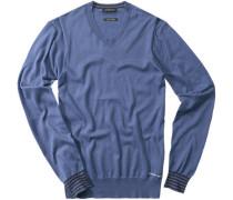 Herren V-Pullover Baumwolle blau